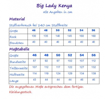 Ebook Damen Rock Big Lady Kenya Gr. 46-56