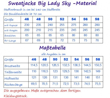 Ebook Sweatjacke Big Lady Sky Gr.46-58