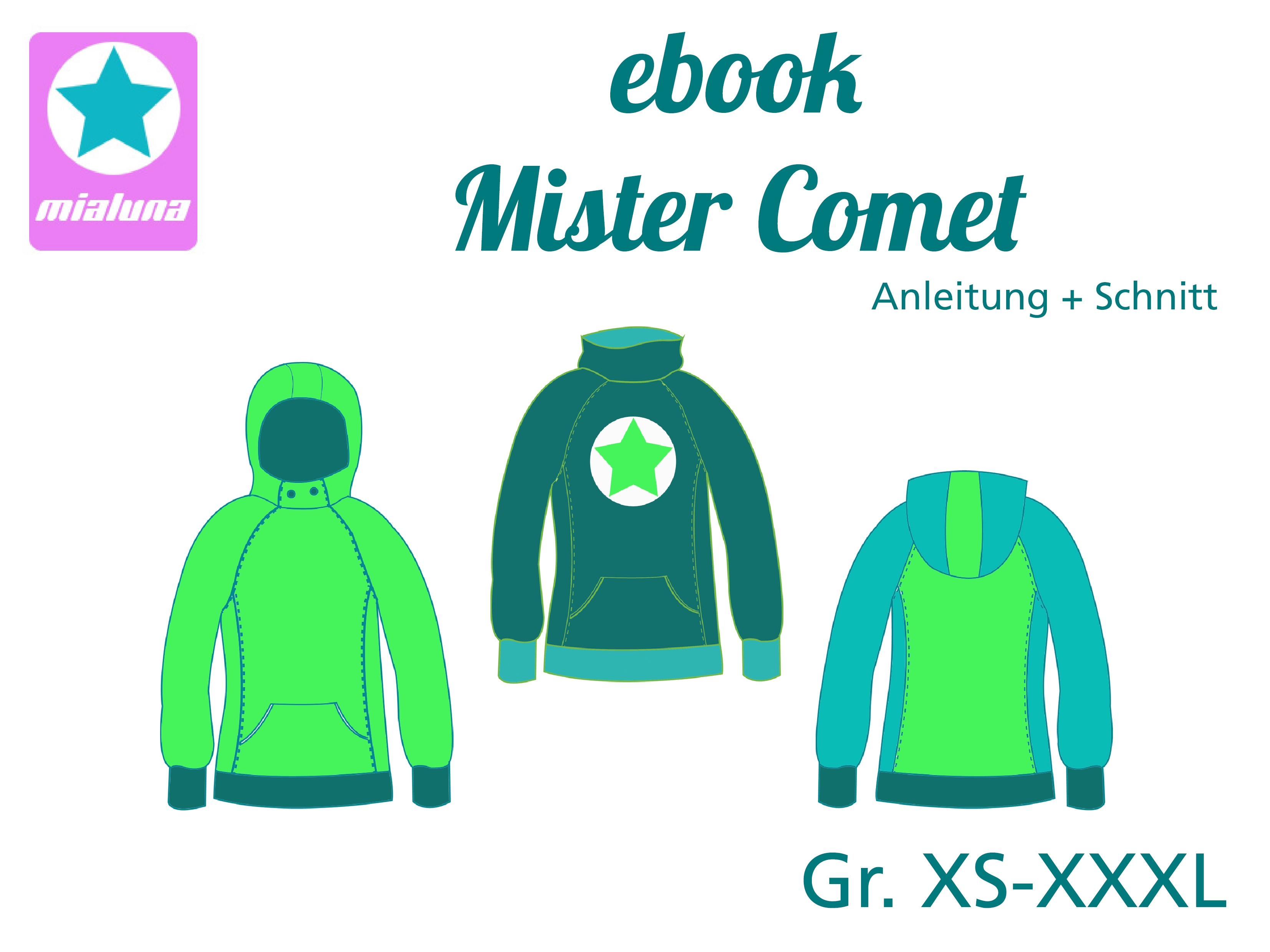 mialuna - Ebook Hoodie Mister Comet Gr. XS - XXXL