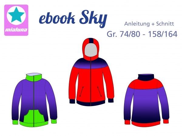 Ebook unisex Sweatjacke Sky Gr.74/80-158/164