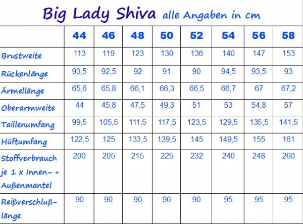 Ebook Übergangsmantel Big Lady Shiva Gr. 44-58